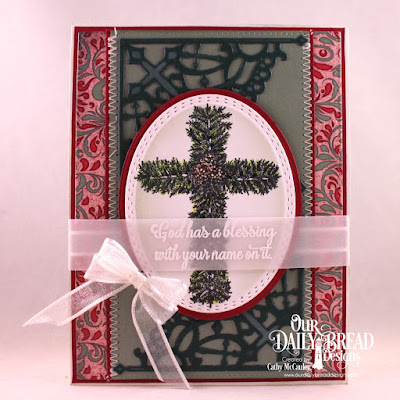 Our Daily Bread Designs Stamp Set: Praise the Lord, Paper Collection: Christmas Collection 2017, Custom Dies: Pierced Rectangles, Oval Stitched Rows, Ovals, Decorative Corners