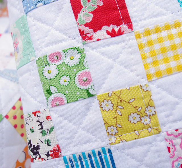A Checkerboard Postage Stamp Quilt ~ Quilting detail :: Red Pepper Quilts
