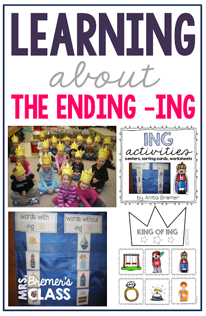 Learning about the ending -ING with activities for Kindergarten and First Grade