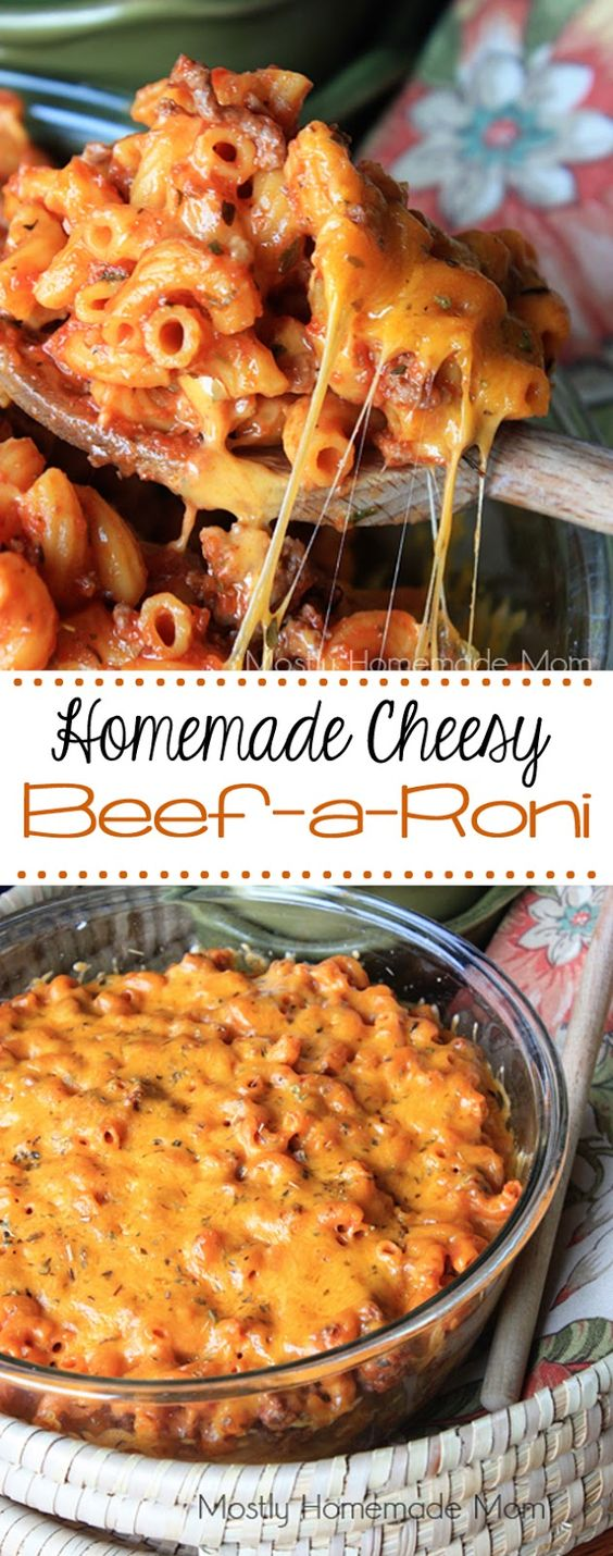 This homemade beefaroni recipe has an amazing tomato meat sauce combined with elbow macaroni noodles and layers of gooey cheddar cheese – get your family gathered around the table again!