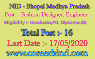 National Institute Of Design Recruitment 2020