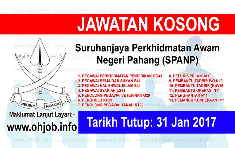 Jawatan Kerja Kosong Suruhanjaya Perkhidmatan Awam Negeri Pahang (SPANP) logo www.ohjob.info januari 2017