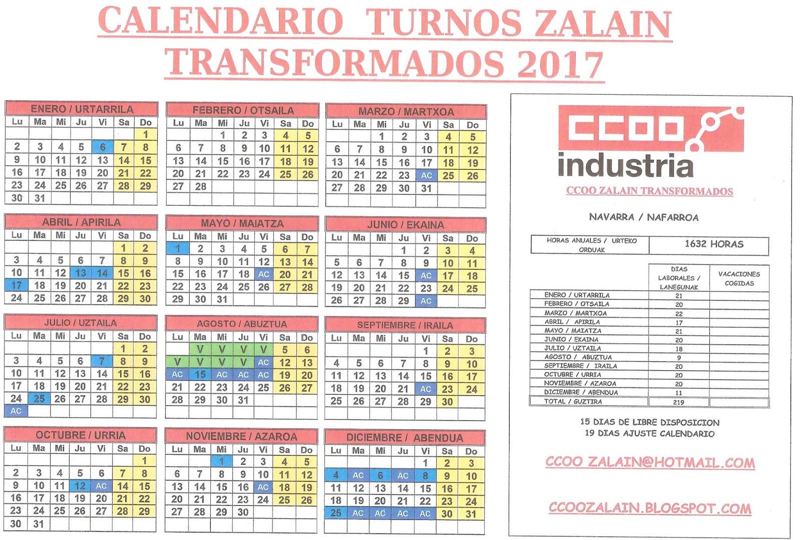 Calendario Turnos.Ccoo Zalain Calendario Turnos 2017