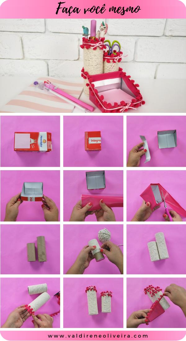 artesanato com caixa de leite e rolo de papel