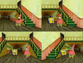 Polosan meme spongebob dan patrick 26 - bermain di tangga dan lorong