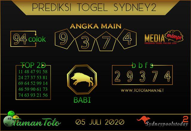 Prediksi Togel SYDNEY 2 TAMAN TOTO 05 JULI 2020
