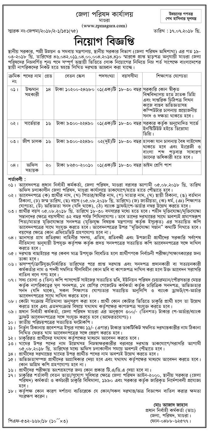 Zila Parishad Magura Job Circular 2018