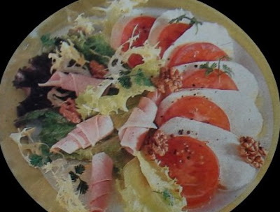 salad with cheese and ham