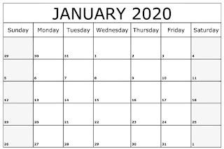 Free Printable Calendar January 2020