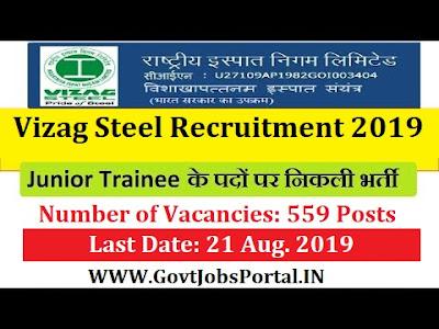 Vizag Steel Junior Trainees Recruitment 2019