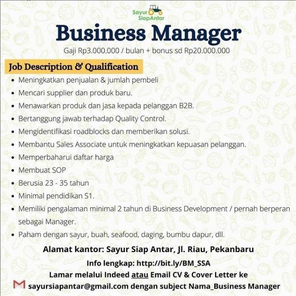 Lowongan Kerja Business Manager Dari Sayur Siap Antar