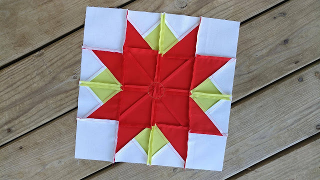 Poinsettia quilt block for Christmas QAL