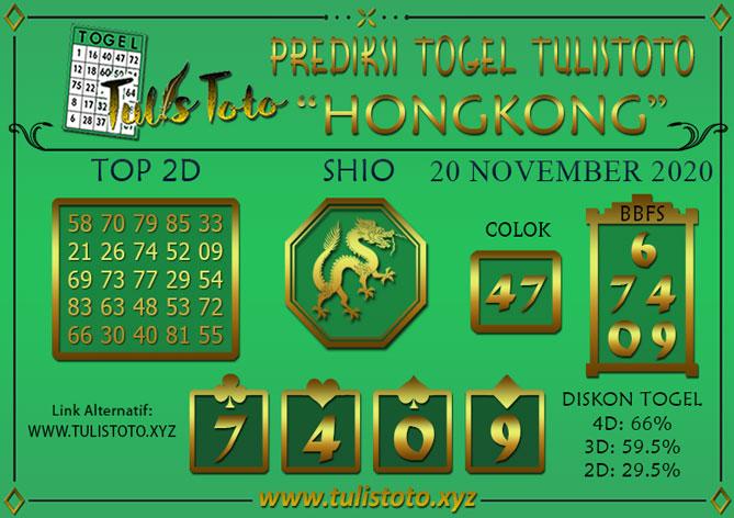 Prediksi Togel HONGKONG TULISTOTO 20 NOVEMBER 2020