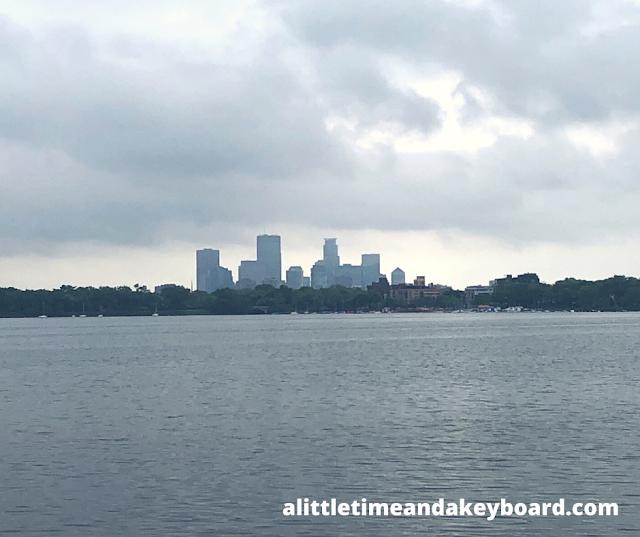 Minneapolis rises above Lake Bde Maka Ska.