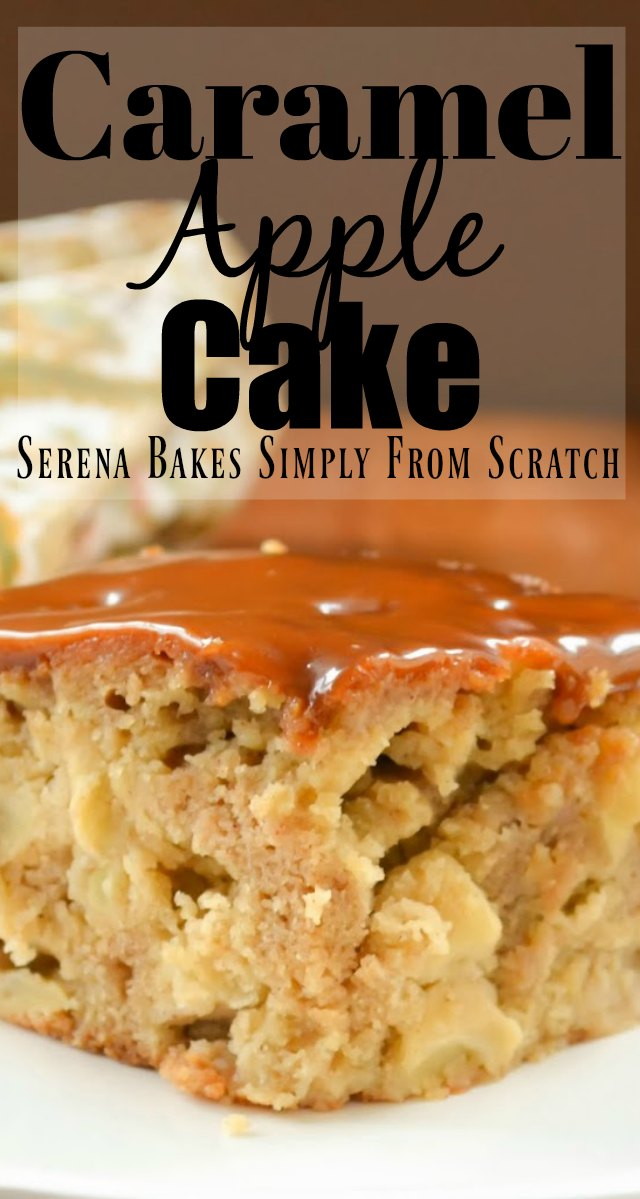 Caramel Apple Cake recipe is cinnamon apple cake poked with holes and covered with homemade caramel! Perfect for the Thanksgiving dessert table from Serena Bakes Simply From Scratch.