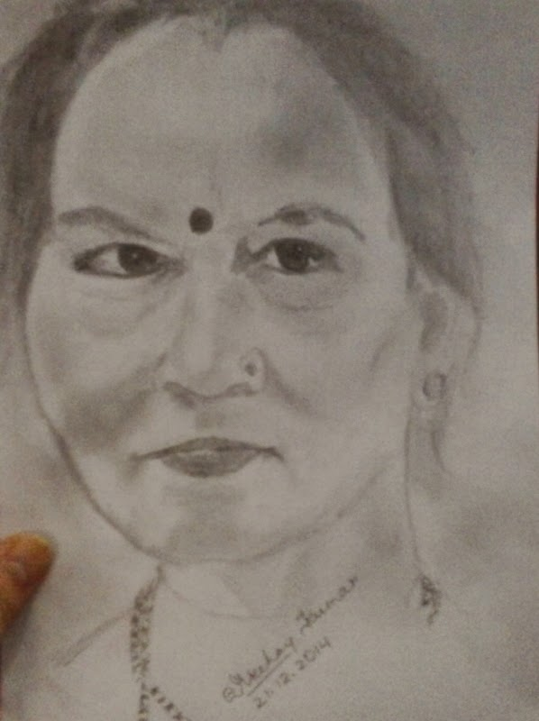 Pencil drawing of old indian woman