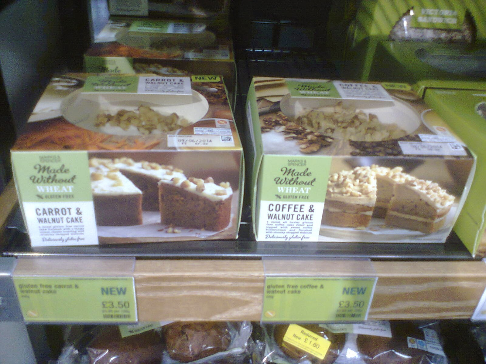 The M&S Made Without Wheat Carrot & Walnut Cake and Coffee and Walnut Cake. I haven't tried these. Yet.