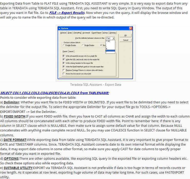 Teradata SQL Assistant Export    Import   DATA in a Nutshell >