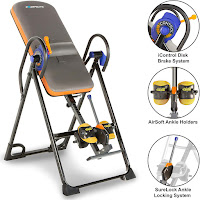 Exerpeutic 975SL All Inclusive Heavy Duty Inversion Table, features reviewed, supports up to 350 lbs user weight capacity, infinite angle adjustments up to full 180 degree inverting
