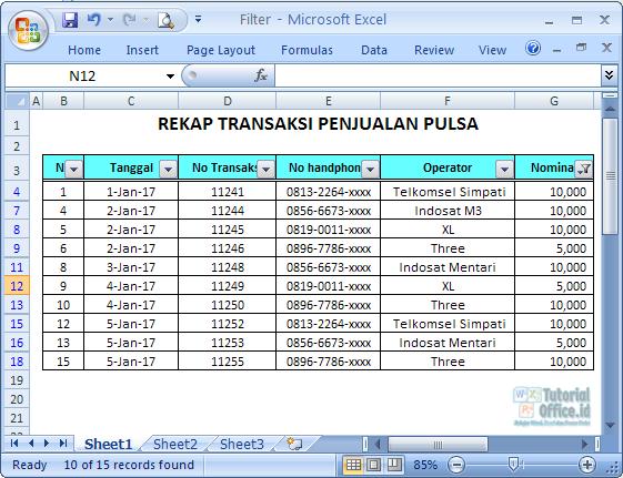 Number Filter Excel