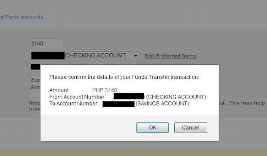 BPIExpressOnline fund transfer step 3