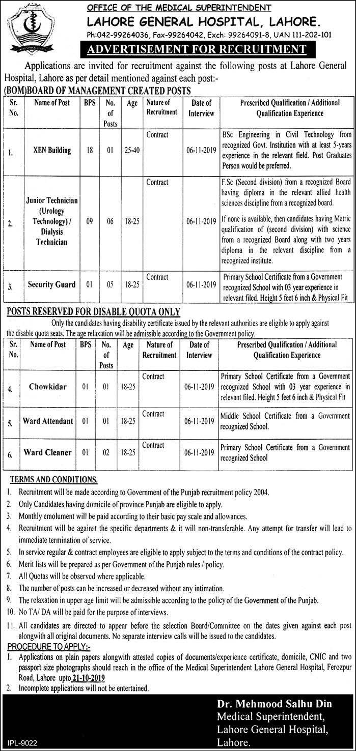 Lahore General Hospital Lahore Jobs October 2019