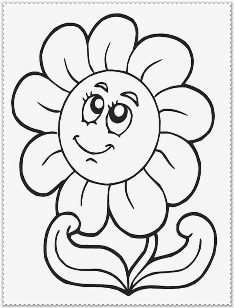 sun flower on the spring coloring pages