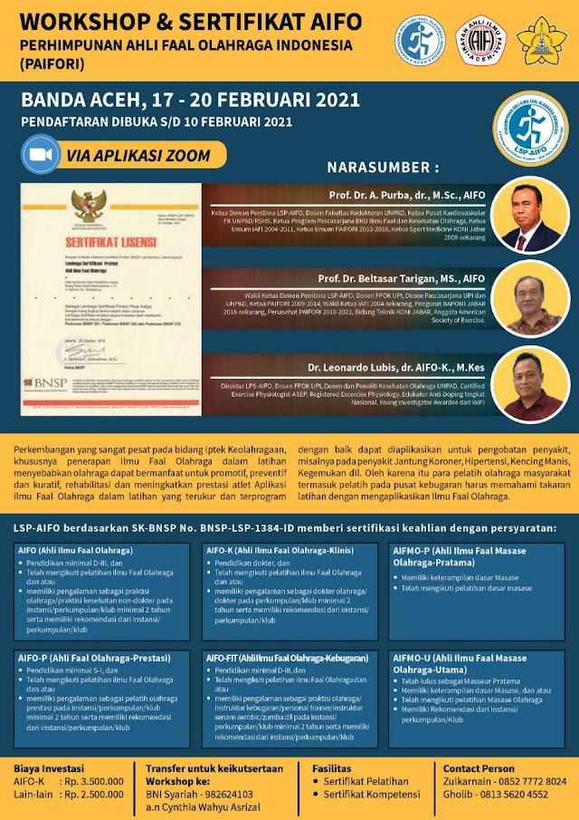 Workshop & Sertifikasi AIFO    Perhimpunan Ahli Faal Olahraga Indonesia (PAIFORI)