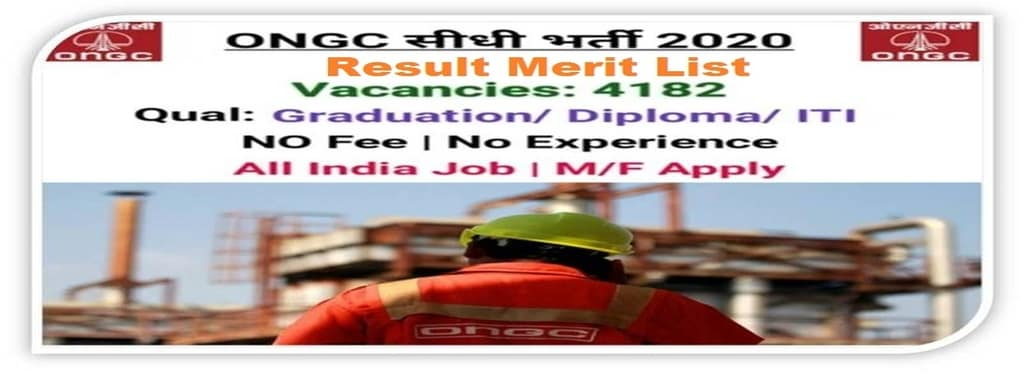 ONGC Apprenticeship Result 2020 Declared, applyforjobs.in