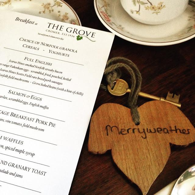 Breakfast menu at The Grove, Cromer