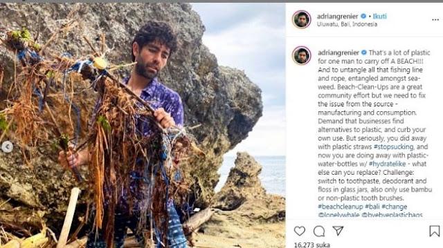 Layak Dicontoh, Aktor Hollywood Ini Bersihkan Sampah di Pantai Uluwatu Bali