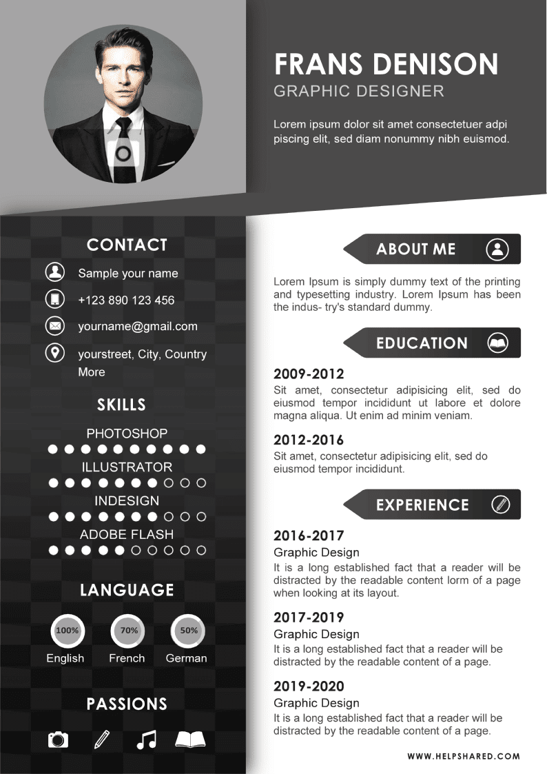 black white cv resume template-2