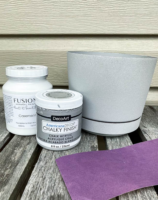gray painted plastic planter