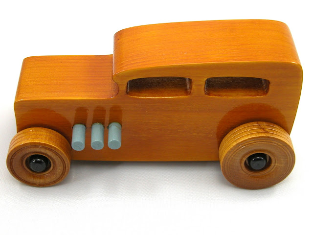 Wooden Toy Car - Hot Rod Freaky Ford - 1932 Sedan - Amber Shellac - Grey - Black