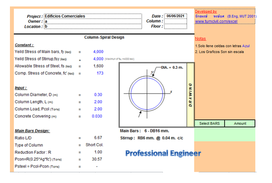 important excel sheet for design reinforced concrete structural elements