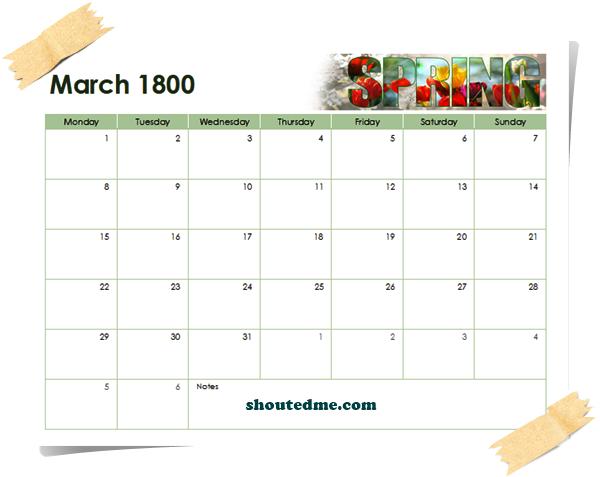 kalender tahun 1800 maret