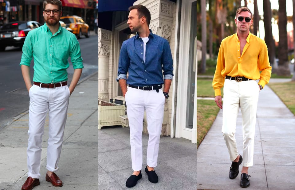 white pants and shirts