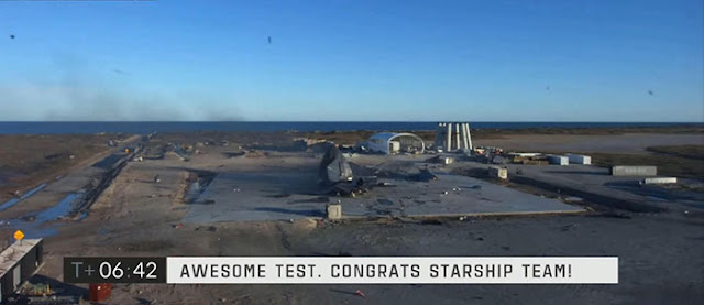 All that's left of Starship SN8, right in the center of the landing pad .  (Source: SpaceX)