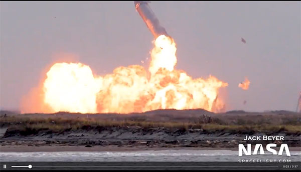 But 10 minutes after landing, SN10 explodes (Source: NASA.Spaceflight.com)
