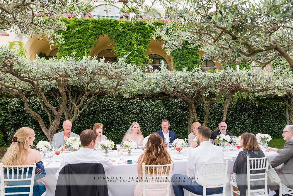 Wedding reception in Caruso garden
