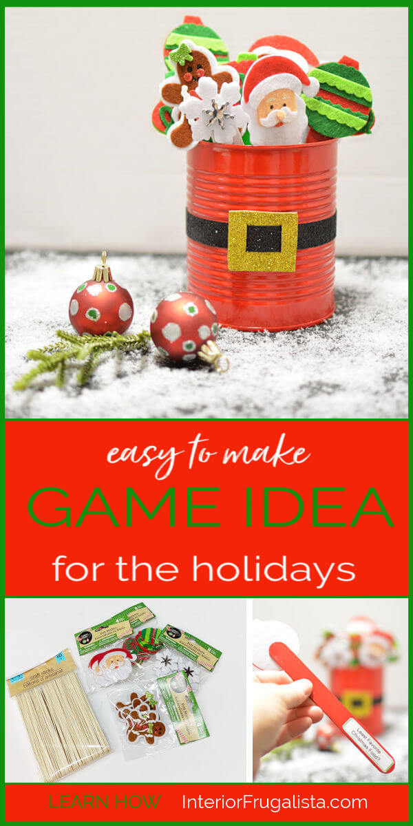 A family friendly Holiday Ice Breaker Party Game for everyone, young and old, that everyone can enjoy by Interior Frugalista that is easy to make and budget-friendly with dollar store finds. #diyholidaygame #christmasgameidea #festivechristmasideas
