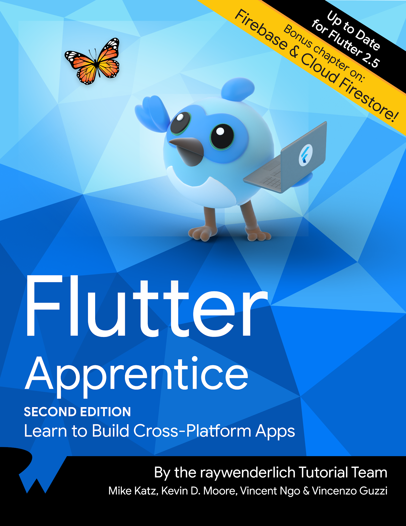 Image of cover of Flutter Apprentice book with  the Flutter bird