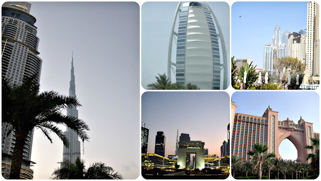 The Burj Khalifa, Burj Al Arab sailboat hotel, Marina District, and Palm Island all in Dubai