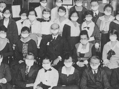 group of people with masks