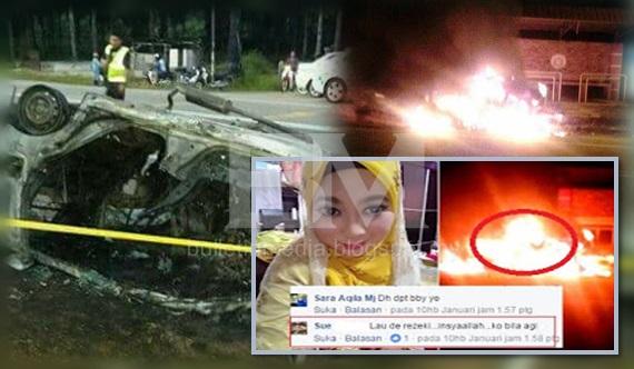 Sayu : Pengantin 2 bulan sue sedang hamil .. arwah dan suami maut terbakar kereta kemalangan (6Gambar)