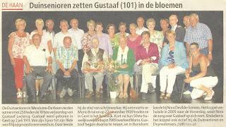 Gustaaf Leclercq als 101-jarige gevierd bij de duinsenioren