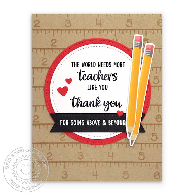 "Sunny Studio: ""The World Needs More Teachers Like You"" Ruler & Pencil Thank You Card (using Teacher Appreciation Stamps, School Time Stamps, Stitched Circle Dies & Stitched Rectangle Dies)"