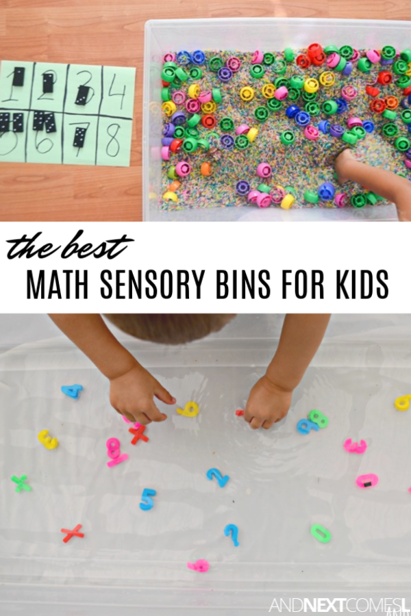 Math sensory bins that are perfect for toddlers obsessed with numbers