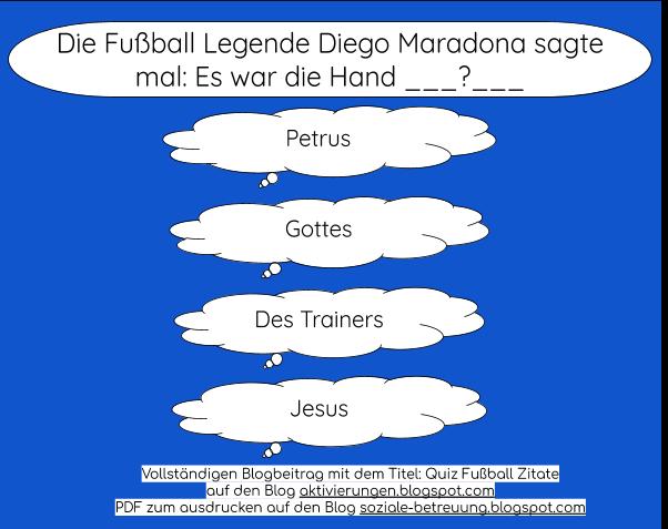 Quizfragen, Aktivierungen von Senioren, Betreuungskräfte, Thema Fußball/ Fußballer