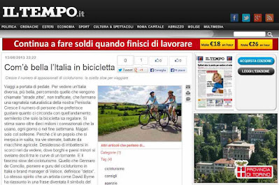 an article about Veloce bike rental Il Tempo Italian newspaper